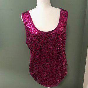 Ann Taylor Loft Pink Sequins Tank - XL
